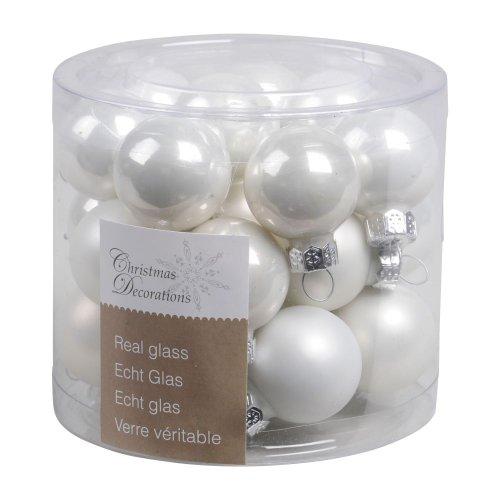 Kaemingk mini palline di natale 2,5 cm vetro lucido/opaco 24 pezzi bianco