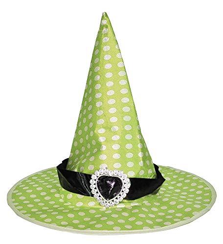 Hexenhut Speckles für Kinder - Grün - Hut zum Hexenkostüm Karneval Halloween (Weiße Magierin Kostüm Kind)