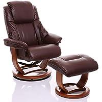 Oriental Leather Co Ltd Sillón The Emperor - silla giratoria reclinable de cuero y reposapiés a juego en color Marón