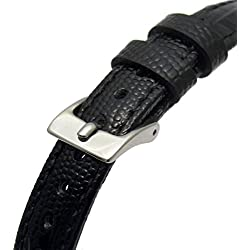 Extra Long XL Women's Leather Watch Strap Band Lizard Grain (Flat Profile) - 10mm Black with Chrome (Silver Colour) buckle