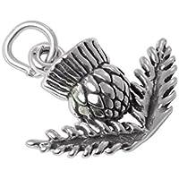 Ciondolo TheCharmWorks in argento Sterling a forma di cardo tridimensionale 3D