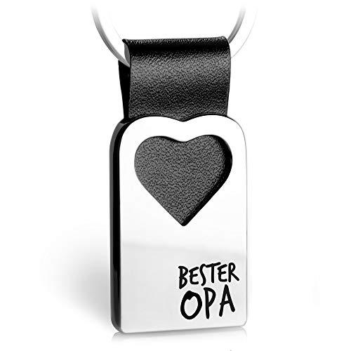 Herz Schlüsselanhänger mit Gravur aus Leder - Opa Geschenk Anhänger für Geburtstag - Bester Opa - FABACH®