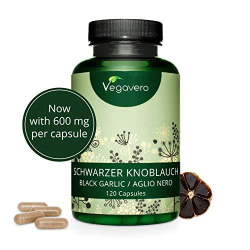 Ajo Negro Vegavero® | Ahora 600 mg de Extracto 10:1 | Equivale a 6000 mg | Testado en Laboratorio - Sin Aditivos | Colesterol + Antioxidante | 120 Cápsulas | Apto Para Veganos