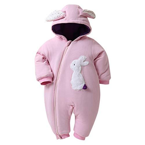Livoral Baby Winter Even Jacke Mädchen Baby Ear Bunny Winterjacke Kinder Zip Thick Winterjacke Hoodie Jumpsuit(Rosa,12-18 Monate)