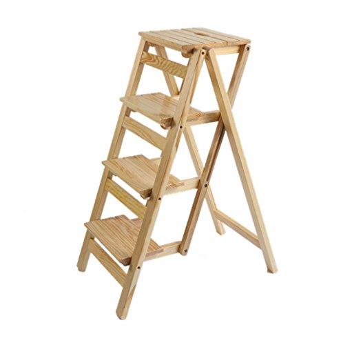 Klappstufen Massivholz Leiter Hocker Folding Bibliothek Schritte Hocker Multifunktionale Schwarz Holz Holz Farbe Regalleiter für Küche Büro Leiter Stuhl mit 4 Schritten (Farbe : D)