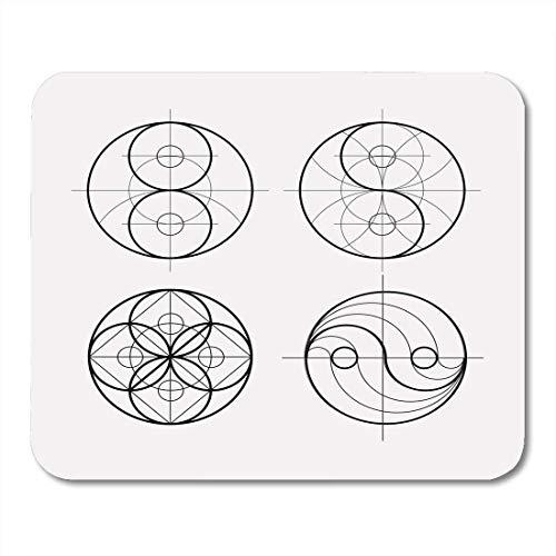 Luancrop Mauspads Weißes Ying Yang Symbol der Harmonie und des Gleichgewichts Heilige Mausunterlage für Notizbücher, Tischrechner matten Bürozubehöre