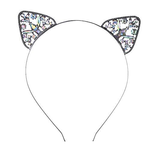 Xiton 1 stück cat ohren stirnband strass cat haarband kristall haarband party dekoration kopfschmuck cosplay kopfbedeckungen nette haarschmuck für frauen mädchen(schwarz) (Strass Katze Stirnband Ohren)