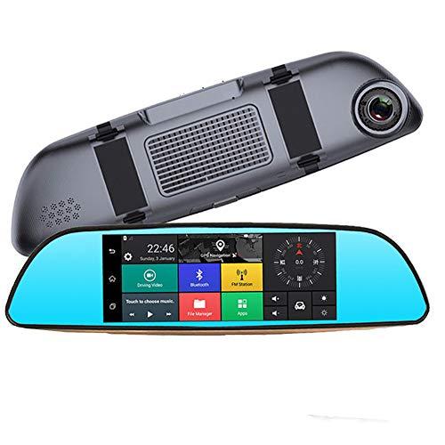Dashcam Auto Dash Camera 1080P 7 Zoll Dual LensRückspiegel mit GPS-Navigation der Recorder Bluetooth WiFi-Rückfahrmaschinenzyklus Videoparking 140 ° Weitwinkel überwacht