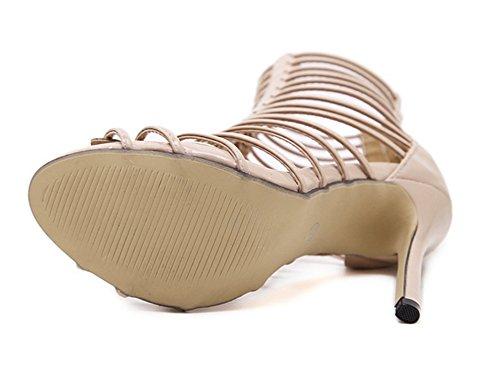 Aisun Damen Elegant Römisch Kunstleder Reißverschluss Stiletto High Top Sommerstiefel Sandale Aprikosenfarben
