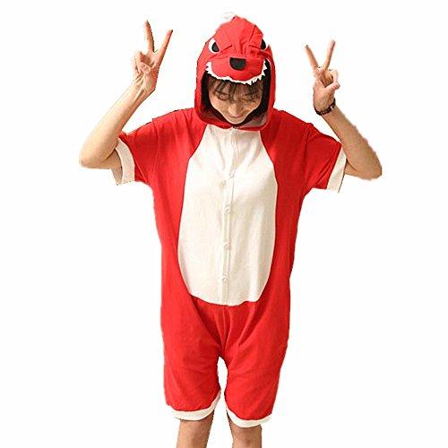 Unisex Sommer Einhorn Pyjamas Kostüm Jumpsuit Tier Schlafanzug Karneval Halloween Weihnachten Cosplay Kostüm Nachtwäsche Red dinosaur