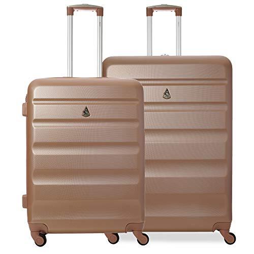 Aerolite ABS trolley valigia rigida con 4 ruote grande (Medio + Grande,Rosa Oro)