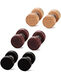 KULTPIERCING - 6er Set Holz Fake-Plugs - Fake Plug Tunnel Cheater Illusion Stud Ohrringe Organic Ohrstecker - 3 Paar Holzplugs (in verschiedenen Größen)