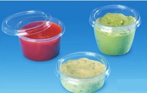 Lot de 100en plastique jetables Tasse Boîte ronde avec couvercle transparent 100ml 113g Sauce 7100C + P