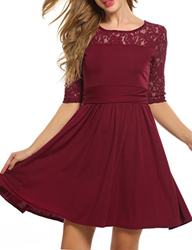 Zeagoo Damen Spitzenkleid Ballkleid Partykleid Cocktailkleid Festliches Kleid A-Linie Kleider Knielang Weinrot
