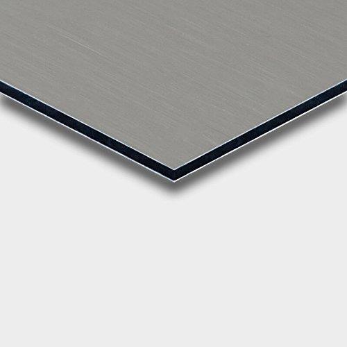 Alu DIBOND® Platte Bulterfinish Edelstahl gebürstet für Werbetafeln, Beschilderung, Displays, Messebau, Maße: 25 x 25 cm, Stärke: 3 mm