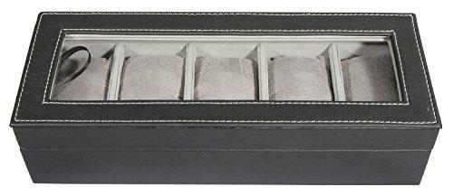 Coffret Boite à montres en simili cuir et tissu - Coloris NOIR