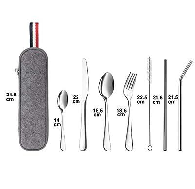 Kohmui Outdoor Reisebesteck, Campingbesteck aus Edelstahl mit Filztasche, 7-teilige Besteckset mit 2 Löffel, Messer, Gabel, 2 Strohhalm, Reinigungsbürste