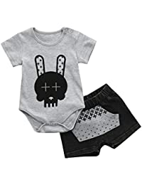 Napoo Infant Baby Boy Cartoon Tops + Denim Patchwork Pocket Shorts Outfits Clothes Sets