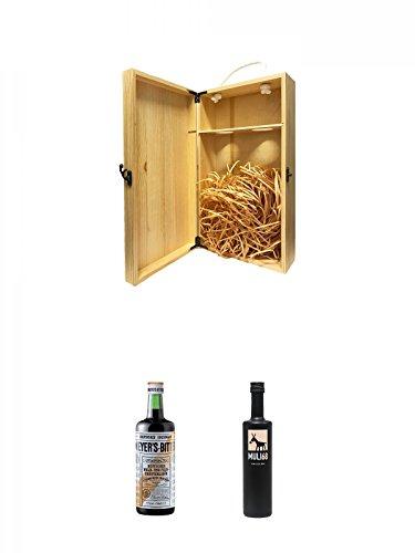 1a Whisky Holzbox für 2 Flaschen mit Hakenverschluss + Meyers Bitter Wald & Feldkräuterlikör 0,7 Liter + Muli 68 Kräuterlikör 0,5 Liter