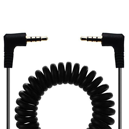 Lokeke 90gradi 3.5mm trrs audio maschio 3.5mm maschio a molla cavo per iPhone/iPhone 8/iPhone x/iPhone 7/iPhone 7Plus, iPad, cuffie, portatili, pc, MP3, MP4e altri, 1.5m