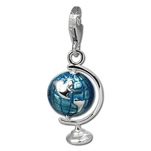 SilberDream Charm 925er Silber Emaille Armband Anhänger blau Globus FC833B