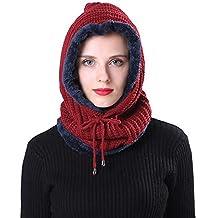 Longra Cappello Sciarpa Donna Uomo Beanie Berretti Paraorecchie Cappelli Di  Sci Sciarpa Con Fodera In Pile e177dc341228