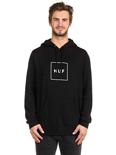Herren Kapuzenpullover HUF Box Logo Pullover Fleece Hoodie Black