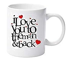 Idea Regalo - I Love You To The Moon & Back ceramica tazza regalo di San Valentino