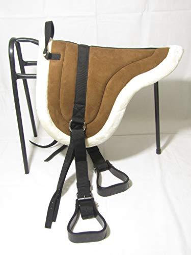 A&S Equestrian Sattelpolster ohne Bareback aus feinstem Synthetikfell gepolstert mit Nylon-Steigbügel