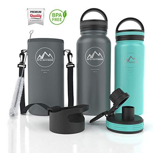 Thermosflasche 1L & 500 ml I 3 Verschlüsse, Neoprentasche und Bürste inkl. I Edelstahl trinkflasche 1L I Sport Trinkflasche I Trinkflasche Edelstahl 1L grün (950 ml) ()