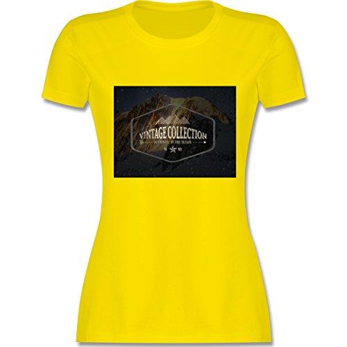 Wintersport - Retro Design Berge - tailliertes Premium T-Shirt mit Rundhalsausschnitt für Damen Lemon Gelb