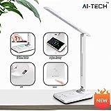 Lampada da Scrivania AITECH Lampada da Tavolo Wireless Carica Batteria Rapido 10W Regolabile Desk Lamp 4 Livelli per 4 Modalità di Illuminazione occhi-Cur