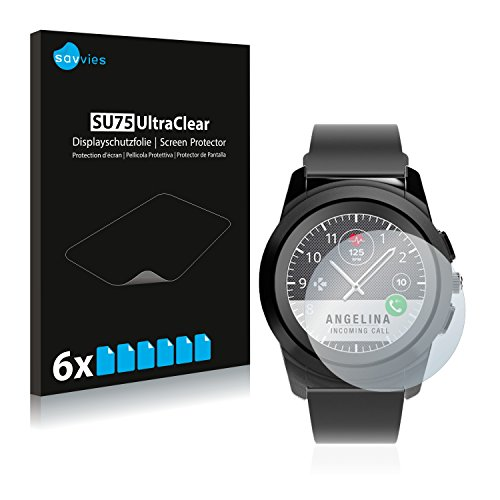 Savvies Schutzfolie kompatibel mit MyKronoz ZeTime Regular (44 mm) (6 Stück) - ultraklare Bildschirmschutz-Folie