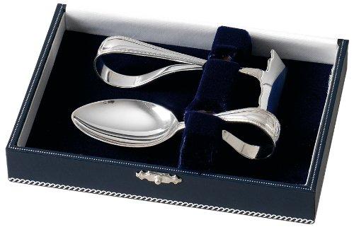 Occhiello in argento Sterling e cucchiaio pusher-Set completo con custodia di presentazione.