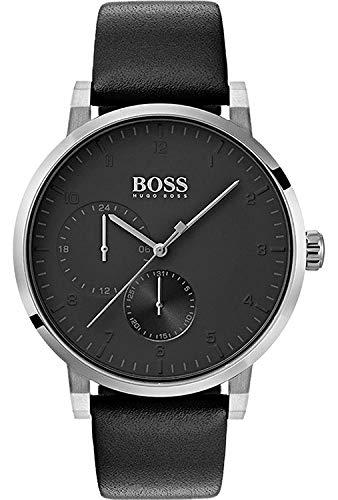 Hugo Boss Unisex 42mm Bracelet Cuir Noir Quartz Analogique Montre 1513594