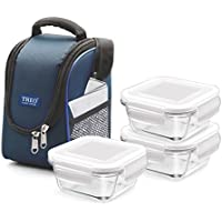 Milton Treo Health First Glass Tiffin Set of 3 pcs 300 ml Square Container in Thermostat Jacket- Blue