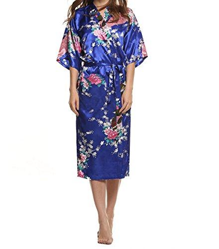 YueLian Pigiama da Donna con Fascia Kimono da Donna Stampa Pavone Blu scuro