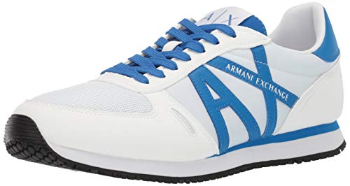 A|X Armani Exchange Herren Lace Up Sneaker with Logo Turnschuh, White +Black, 46 EU