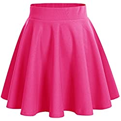 Dresstells Falda Mujer Mini Corto Elástica Plisada Básica Multifuncional Fuschia M
