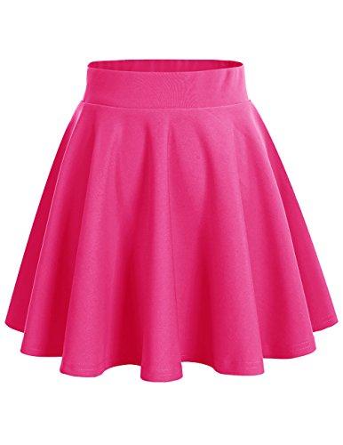 Dresstells Damen Basic Solide Vielseitige Dehnbar Informell Mini Glocken Rock Fuschia (Nähen Sie Ein Kostüm Tragen)