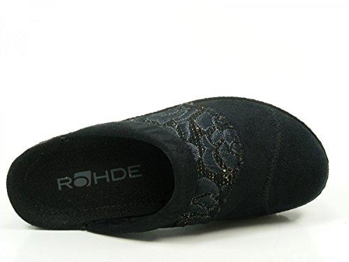 Rohde 2293-90 Neustadt-D Schuhe Damen Hausschuhe Pantoffeln Clogs Weite G Schwarz