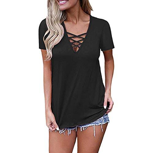 Innerternet Damen T-Shirt mit V-Ausschnitt Sommer Kurzarmt Solide Basic Cross Tops Bluse Schnürung Tops (H Versace M)