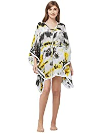 SOURBH Women's Beach Wear Tie-Dye Print Kaftan Body Coverups Top Bikini Boho Dress Girls Swim Suit for Women Western