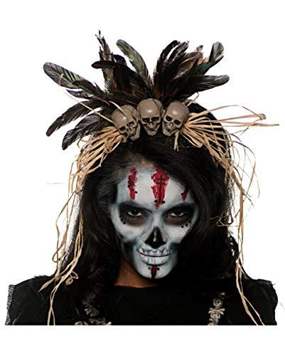 Horror-Shop Totenschädel Kopfschmuck als Voodoo Kostümzubehör