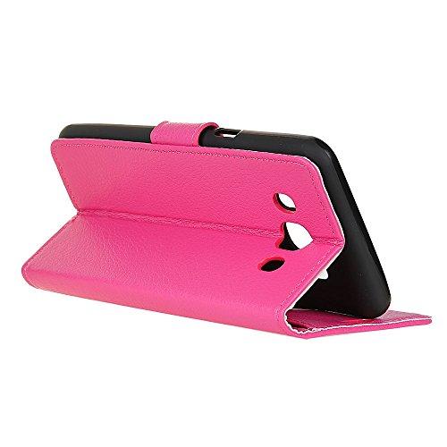 Klassische Litchi Texture PU Leder Schutzhülle Horizontale Folio Flip Stand Case Cover mit Kartensteckplätzen für Samsung Galaxy J5 2016 ( Color : Black ) Rose