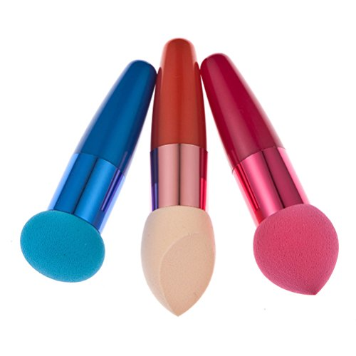 Frcolor 3PC Women Cosmetic Liquid Cream Foundation Correcteur Sponge Lollipop Brush (Bleu + Rouge + Peau)