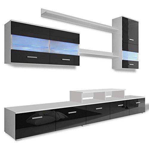 Festnight- Siebenteilige Wohnwand mit LED Beleuchtung Hochglanz TV-Lowboard Schrankwand Schwarz 250 cm