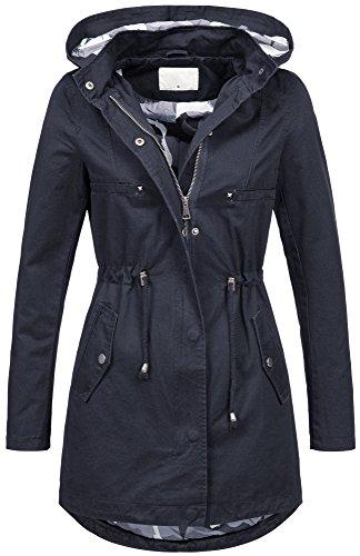 Leichte Damen Jacke Übergangsjacke mit Kapuze Mantel Parka Baumwolle S-XL B495 (S, Navy)