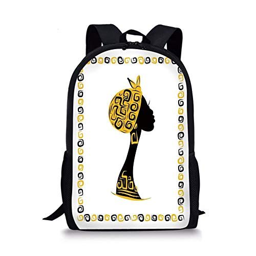 School Bags Afro Decor,Female Head Portrait in Ethnic Tribal Frame with Ornament Lines Design,Black Earth Yellow for Boys&Girls Mens Sport Daypack -