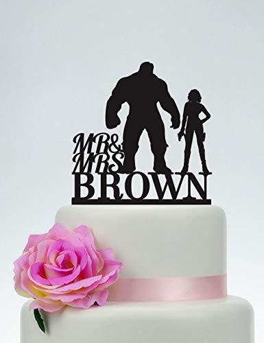 (Hulk and Black Widow Tortenaufsatz für Hochzeitstorte, Mr and Mrs, mit Nachnamen, Superhelden-Kuchenaufsatz, Avengers, Hero-Hochzeit)